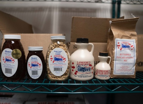 A variety of products from Lamothe's Sugar House in Burlington, Connecticut.