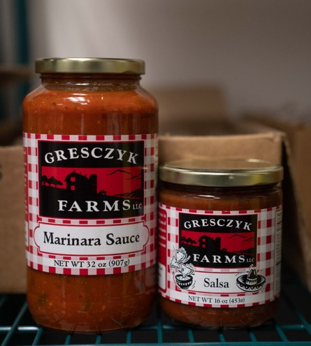 Bottled marinara sauce and salsa from Gresczyk Farms in New Hartford, Connecticut.