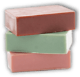 A stack of three bars of soap.