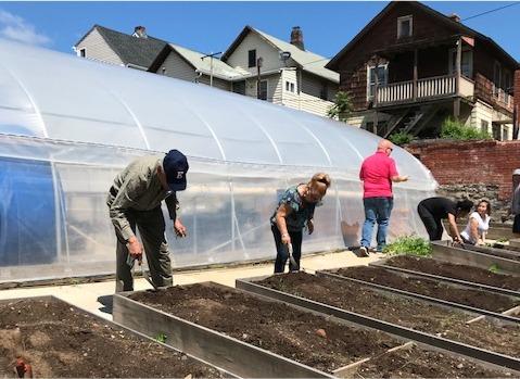 Volunteers work in the Brass City Harvest urban garden in Waterbury, Connecticut.