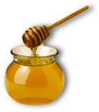 A pot of honey and a honey dipper.